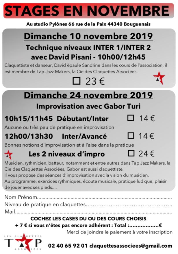 Formulaire de stages en novembre 2019 - Les Claquettes Associées Nantes