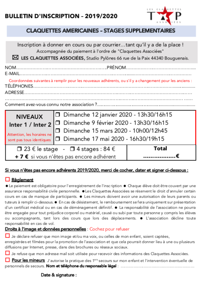 bulletin-inscription-stages-supplementaires-2020-claquettes-associees
