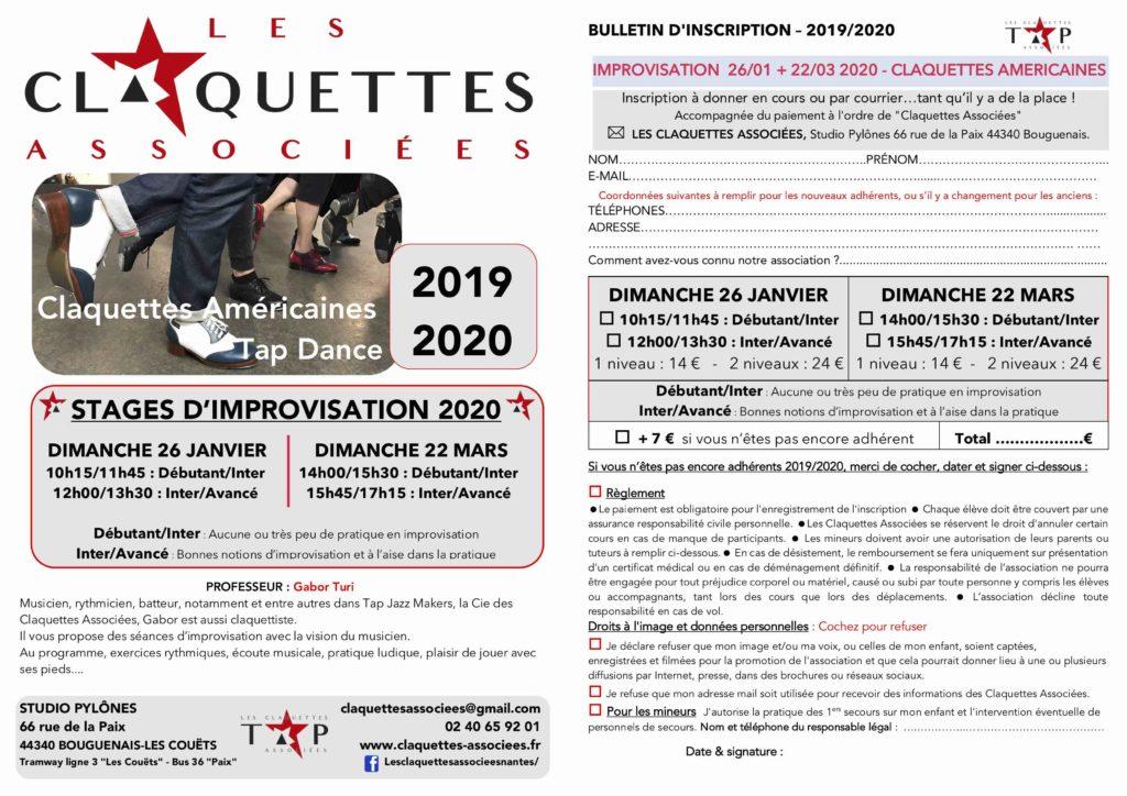 Stages d'improvisation claquettes en janvier et mars 2020 avec Les Claquettes Associées-Nantes