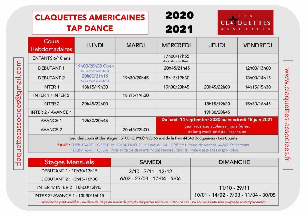 Planning des cours hebdomadaires et stages mensuels-Saison 2020/2021-Les claquettes associées-Nantes