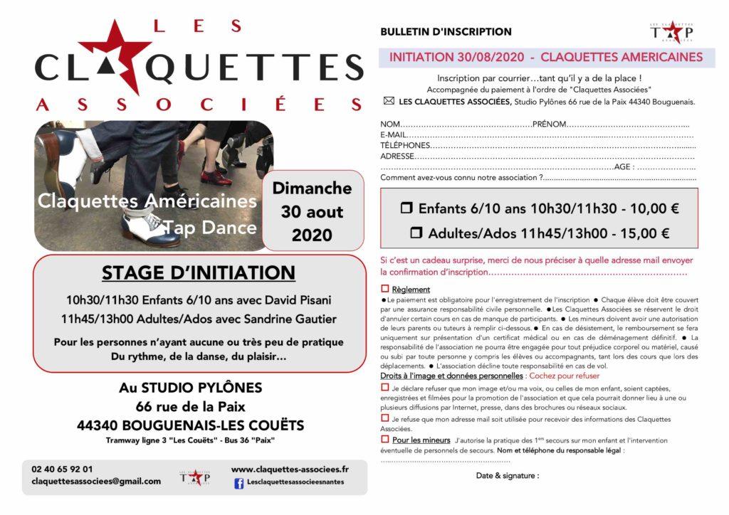 Initiation claquettes -Tap dance Dimanche 20 aout 2020 Les claquettes associees