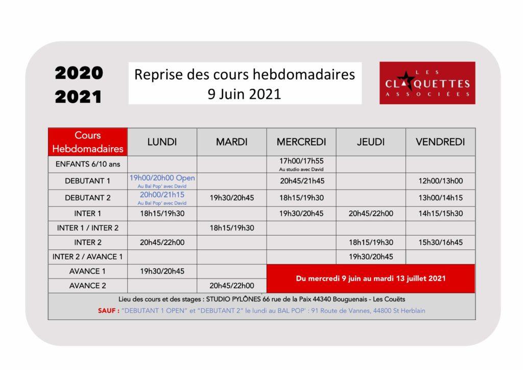 Reprise à partir du mercredi 9 juin 2021-cours hebdomadaires-les claquettes associées-Nantes