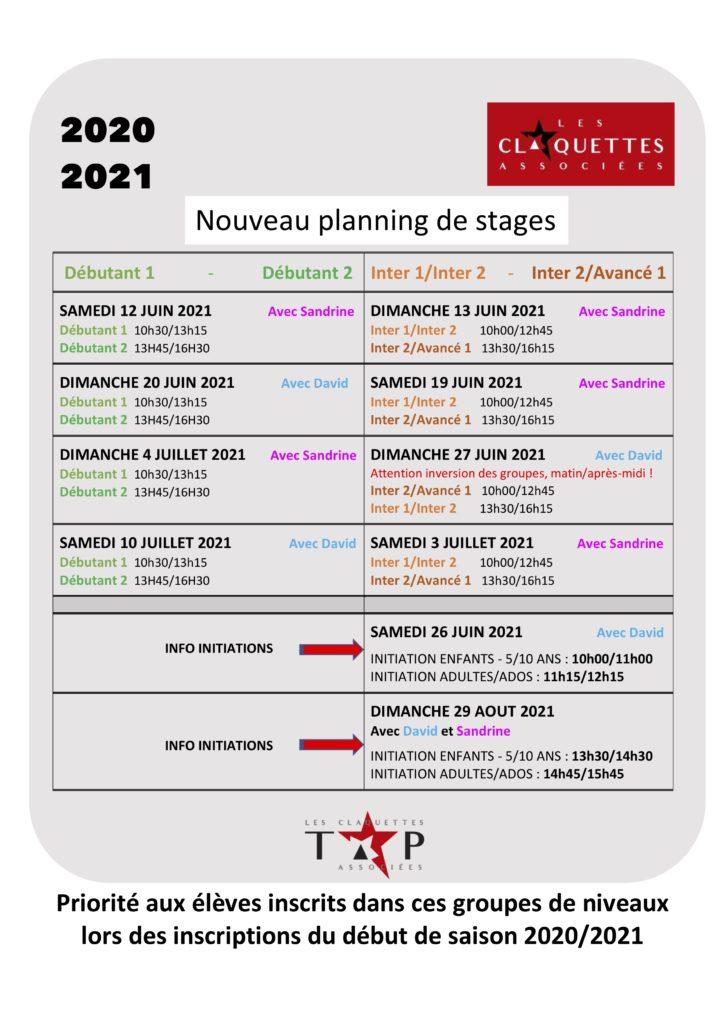 STAGES nouveau planning reprise juin - juillet 2021 - saison 2020/2021-les claquettes associées-Nantes