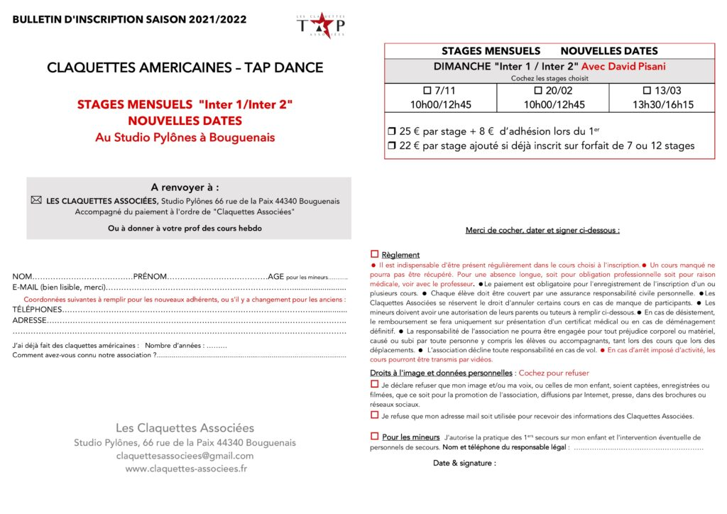 STAGES INTER 1/2 supplémentaires
